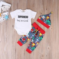 Batman Dark Knight gift Christmas Summer Cute Batman Newborn Baby Boys Infant Rompers+Shoes+Hat 3Pcs Outfit Baby Boys Clothes Set AT_71_6