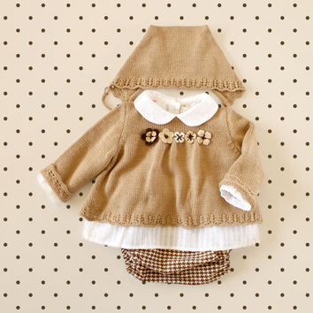 Knitted sweater, diaper cover and cap in camel and brown. Felt flowers. Baby girl. 100% merino wool. READY TO SHIP in size newborn.
