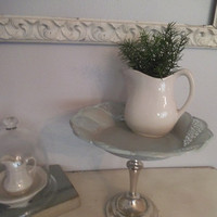 Upcycled Pedestal tray ~ Duck egg Blue ~ Distressed Aqua ~ Silverplate ~ Server ~ Candle holder ~ Vanity ~ Beach Cottage