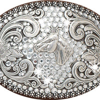 Nocona Women's Antiqued Silver-tone Belt Buckle with Rhinestones and Horse Head - 37536