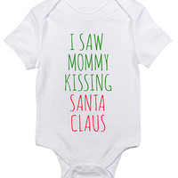 I Saw Mommy Kissing Santa Christmas Baby Clothes Infant Bodysuit Jumper Funny Gift xmas Present Holiday Movie Festive Carol Quote Song