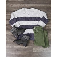 Girls Like Me Striped Fuzzy Knit Sweater with Side Slit in Purple Grey/Cream