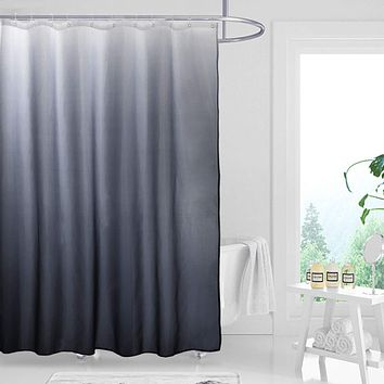 Fabric Ombre Shower Curtain Set for Bathroom with 12 Hooks, Gradient Design Waterproof Decorative Bathroom Curtain, 70 x 70 Inch, Black