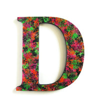 Decorative Letter D hand painted in bright neon colors on black wooden letter, 10 inch, ready to ship