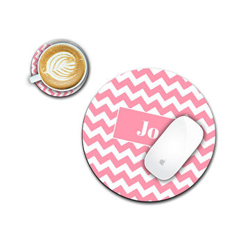 Personalized Coral Mouse Pad, Monogram Coaster Office Gift Desk Set for Boss, Teacher, Student, Coworker, Administrative Assistant Day Gifts