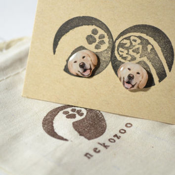 Golden retriever Dog cute Jewelry Earrings , tiny jewelry, handmade items, Unique Gift with linen cotton bag