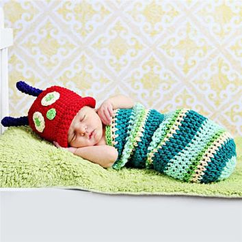 2pcs set Infant Baby Boy Girl Cute Caterpillar Knitted Sleeping Bag with Hat Outfit Suit Baby Clothing born Photography Props