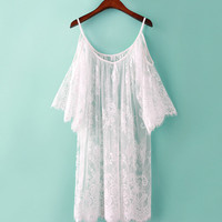 Sheer Lace Cold Shoulder Beach Dress