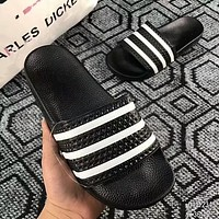 Adidas Adilette Slides Fashion Women Men Casual Black White Stripe Sandal Slipper Shoes I-ADD-MRY