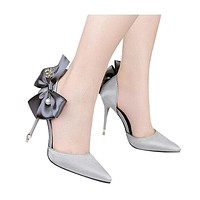 Fashion Women's Pumps Butterfly High heels Platform Thin Heel Pumps Shallow Slip-on Wedding Party Shoes