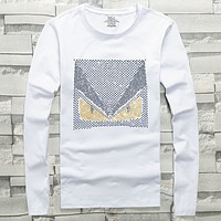 Fendi 2019 early spring new hot drilling demon eyes men's round neck long-sleeved shirt white