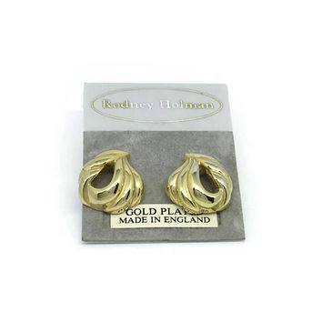 80's Gold Earrings | Unused Vintage | Gold Plated | NOS Earrings For Pierced Ears | Made In England