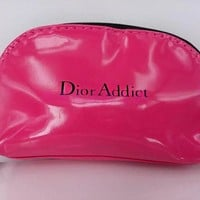 Dior Addict trumpet portable waterproof PU shell cosmetic bag for women to collect wash bag