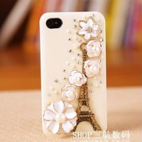 niceEshop White Bling Eiffel Tower With Flowers Crystal Rhinestone Hard Case Cover For Apple iPhone 5 5S