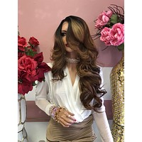 """Brown Balayage Curly Lace Front Wig 22"""" 01 19"""