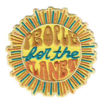 Sun Patch. Jacket Patch. Iron on Patch. Embroidered Denim Jacket Accessory. People for the Planet. Vintage Inspired Clothing. Sewn Hippie
