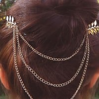 Roman Style Gold Leaf Hair Combs with Chains Chic Wedding Boho Accessory