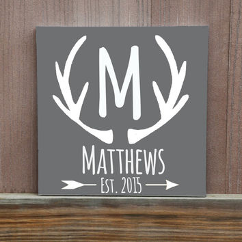 Custom Antler Family Hand Painted Canvas, Rustic Sign, Hunter Gift, Hunting Family, Cabin Decor