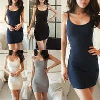 NEW Womens Long Vest Shirt Sleeveless Top Cami Strap Bodycon Mini Dress Skirt [7898235079]