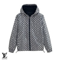 LV Louis Vuitton New fashion reflective monogram print hooded long sleeve windbreaker coat