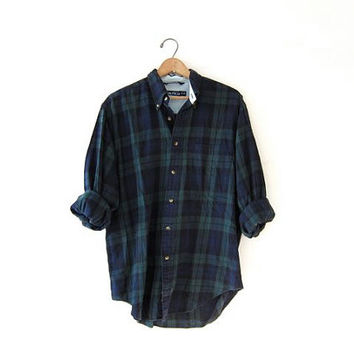 Vintage Plaid Flannel / blue and green Grunge Shirt / Boyfriend Button Up Shirt