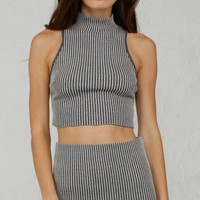 ANGL | Sophisticated High Neck Knit Crop Tank Top