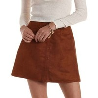 Brown Button-Up Faux Suede Skirt by Charlotte Russe