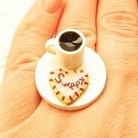 Coffee and Heart Cookie Miniature Food Ring