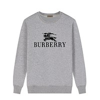 Burberry New fashion letter war horse print couple long sleeve top sweater Gray