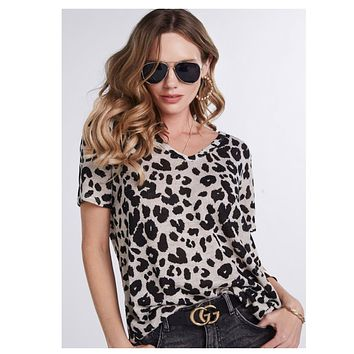 Always on Trend, Leopard Print Hacci Oatmeal Top