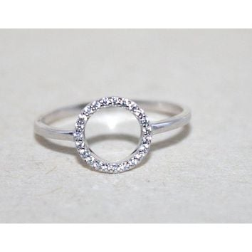 Sterling silver circle of life CZ ring