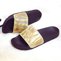 Lotus Jolly Bling Summer Slides Womens Leather Sandals 2017 Women No Fur Slippers Casual Glitter Beach Shoes Plus Size 35-44