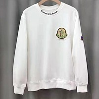 Moncler 2019 new classic embroidered LOGO badge round neck long-sleeved sweater white