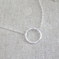 All Sterling, Silver, Simple, Karma, Circle, Halo, Necklace, Dainty, Chic, Necklace, Modern, Minimalist's, Jewelry, Gift, Jewelry, Christmas
