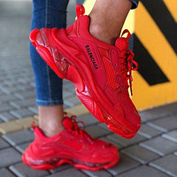 Balenciaga Triple S hot sale crystal platform men's and women's casual shoes Red