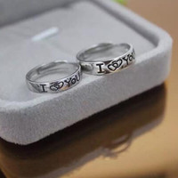 """Personal letter """" I LOVE YOU """" couple adjustable 925 sterling silver ring ALQ"""