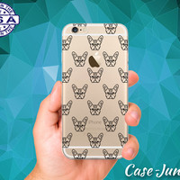 French Bulldog Dog Head Black Pattern Puppy iPhone 5 iPhone 5C iPhone 6 iPhone 6 + iPhone 6s iPhone 6s Plus iPhone SE iPhone 7 Clear Case