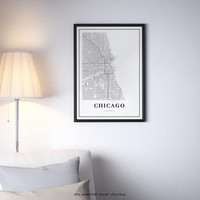 Chicago Map Print, Illinois IL USA Map Art Poster, City Street Road Map Print, Nursery Room Wall Office Decor, Printable Map