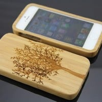 Natural Bamboo Wooden Wood Protective Back Cover Case/Shell Scenery Tree for Apple iPhone 5 5S