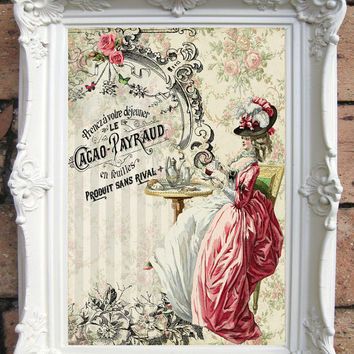 Marie Antoinette art Print. Collage. Vintage style. Shabby Chic decoration. Christmas gift. Gift for her.  Gift for Best friend.Code: Ma 01