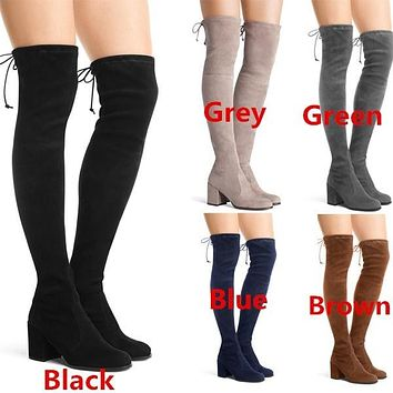 Round Toe Suede Women's Slim Tall Boots