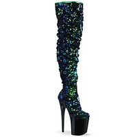 "Flamingo 3004 Thigh High Sequin Slouch Boots 8"" Platform Heels Mermaid"