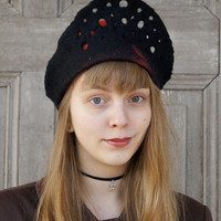 Unique felted hat , red hat with fancy openwork black brim, designers Avant Garde hat, OOAK