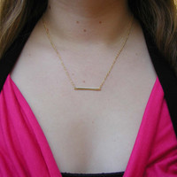 Rectangle Necklace - Charm Necklace - Tiny Necklace - Delicate Necklace - Gold Bar Necklace - Rectangle Pendant - Custom Necklace