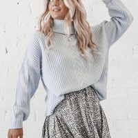 Dreamsicle Blue Turtleneck Sweater