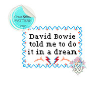 David Bowie told me to do it in a dream. Cross Stitch Pattern.