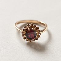 Vintage Garnet Sunflower Ring