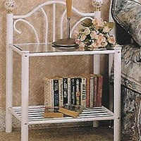 A.M.B. Furniture & Design :: Bedroom furniture :: Nightstands :: White finish metal and glass nightstand