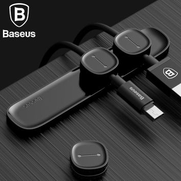Baseus Magnetic TPU Cable Clip Desktop Tidy Cable Organizer USB Charger Cable Holder Car Magnetic Charging Cable Winder Stand