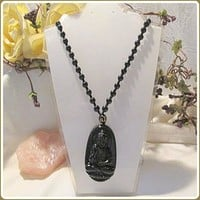 Black Obsidian Luck & Protection Buddha Necklace